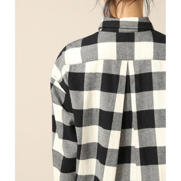 LOWRYS FARM法蘭絨方格格紋落肩胸前口袋長袖襯衫-二色