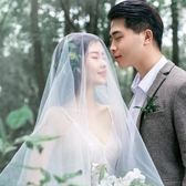 新娘韓式新款森系頭飾簡約百搭拍照頭紗