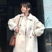 新年鉅惠2018新款冬季女裝韓版中長款復古雙排扣加厚呢子大衣學生毛呢外套 東京衣櫃