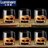 樂美雅弓箭6只裝圓形威士忌酒杯洋酒杯玻璃杯啤酒杯烈酒杯水杯
