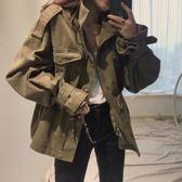 秋季新款韓國chic復古百搭工裝寬鬆休閒口袋收腰風衣外套女 時尚潮流