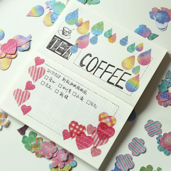 【BlueCat】四葉草愛心水滴彩旗裝飾貼紙 手帳貼紙