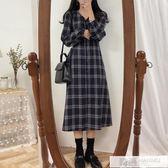 秋裝韓國寬鬆復古慵懶風格子洋裝女氣質顯瘦長袖女裙子襯衣長裙 韓慕精品