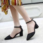 韓版時尚中跟鞋韓版氣質百搭粗跟鞋休閒氣質女鞋