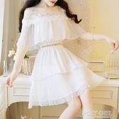 一字肩吊帶小清新雪紡小個子很仙的蛋糕洋裝夏款法國小眾仙女裙 polygirl