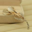 Z3貓眼韓國高檔水晶胸針女優雅領扣飾品衣領夾胸花別針絲巾扣