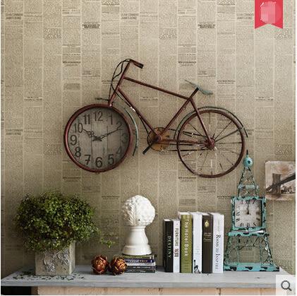 美式純紙牆紙復古壁紙北歐英文個性報紙壁紙書房酒吧咖啡廳牆紙