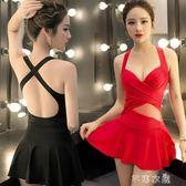 連體泳衣女保守性感遮肚小胸聚攏顯瘦裙式韓國平角褲溫泉游泳衣      芊惠衣屋