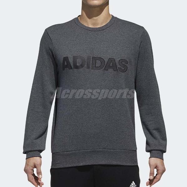 adidas 大學T CM Graphic CS LNG 灰 黑 字體 長袖上衣 男款 【ACS】 DT2510