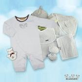 【金安德森】春夏新生兒禮盒-長兔裝+水藍橫條配件組(七件組)