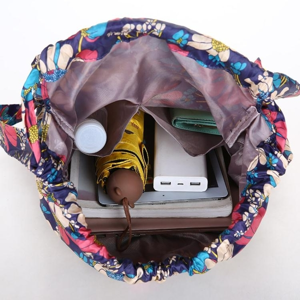 後背包 戶外新款花布束口袋後背包運動背包學生大容量輕便旅行大包百搭女 韓國時尚週 免運