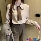 法式上衣 襯衫女設計感小眾2021春裝新款復古法式寬鬆撞色領帶長袖上衣襯衣 618狂歡
