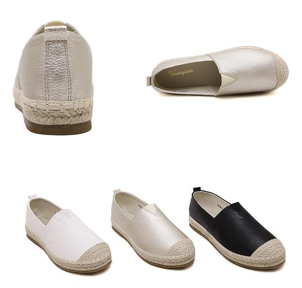 大尺碼女鞋小尺碼女鞋圓頭真皮麻編小白鞋漁夫鞋懶人鞋平底鞋休閒鞋黑色(33-43)現貨#七日旅行