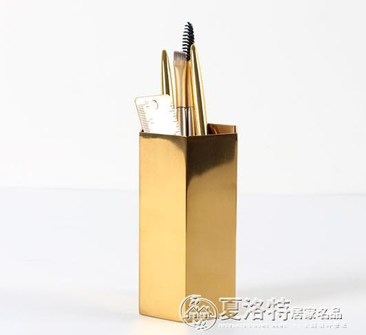 初見 北歐黃銅金色六邊形筆筒插花瓶裝飾物攝影道具金屬桌面擺件 夏洛特居家