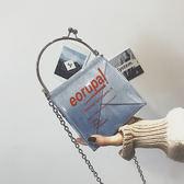 小包包潮果凍單肩小方包chic錬條側背包  可然精品鞋櫃