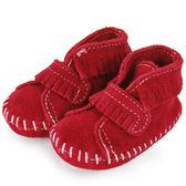 美國正品【MINNETONKA 】紅色一體成形流蘇麂皮莫卡辛嬰兒鞋 在台24H 寄出
