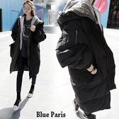 藍色巴黎 ★  秋冬 保暖加厚連帽羽絨舖棉拉鍊中長版風衣外套大衣 《2色 : M~ XL 》【28327】