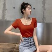 短T u領短袖t恤女夏季大領口顯胸修身漏背體恤性感低領緊身露背上衣潮