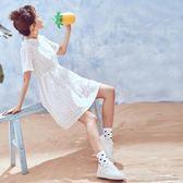 冷淡風白色襯衫連身裙女夏學生初戀甜美繫帶顯瘦極簡裙子超仙  Cocoa