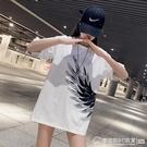 2021年新款短袖潮流上衣 寬鬆大碼寬鬆翅膀T恤純棉白色T恤女 圖拉斯3C百貨