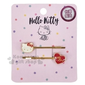 〔小禮堂〕Hello Kitty 一字造型鐵製髮夾組《2入.紅金》瀏海夾.髮飾 4712918-90823