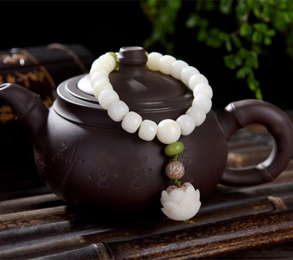 天然白玉菩提根手串男士手鍊佛珠飾品白玉菩提手串情侶款蓮花