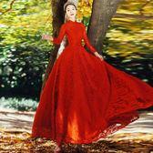 禮服尾牙宴會連身裙結婚敬酒服紅色長袖【奇趣小屋】