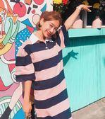 減齡軟萌學院風彩虹條中長款針織連身裙6651KT1F-125紅粉佳人