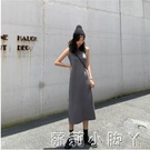 2020秋季新款韓版寬鬆圓領無袖針織洋裝女收腰顯瘦氣質開叉長裙  蘿莉小腳丫