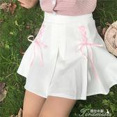 夏裝女裝韓版少女小清新綁帶百褶裙高腰學生顯瘦短裙A字裙半身裙  提拉米蘇