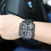 戶外手錶 設計潮牌帆布手錶戶外方形指南針軍錶美式戰術潮錶 多色小屋