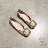 淺口平跟方扣軟底奶奶鞋方頭單鞋女軟皮舒適船鞋瓢鞋【小酒窩服飾】