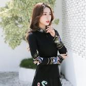 新款民族風傳統刺繡上衣文藝復古繡花長袖T恤女大碼打底衫潮