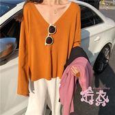 V領冰絲針織衫女短髮秋季正韓學生寬鬆長髮純色開衫上衣薄外套 1件免運