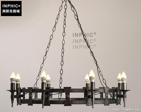 INPHIC- 美式鄉村餐廳客廳咖啡廳酒吧服裝店復古創意蠟燭鐵藝吊燈-B款_S197C