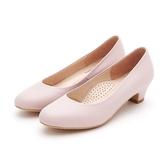 MICHELLE PARK 微笑時光 圓頭圓鞋口素色低跟鞋-粉膚色