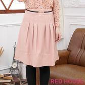 RED HOUSE-蕾赫斯-金屬釦環口袋及膝裙(粉色) 過年驚喜價 任選2件799元