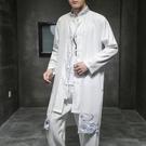 促銷 風衣男中長款古風披風新款秋季中國風漢服唐裝春秋薄款外套潮