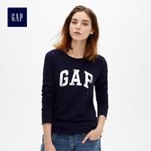 Gap女裝 Logo印花長袖圓領T恤 495487-海軍藍色