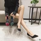 7.5公分高跟鞋女細跟尖頭百搭單鞋黑色【君來佳選】