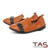 TAS 一字皮帶扣素面牛皮樂福鞋-榛果卡其