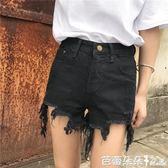 牛仔短褲女 夏季新款女裝韓版百搭磨破洞顯瘦熱褲高腰不規則毛邊流蘇牛仔短褲 芭蕾朵朵