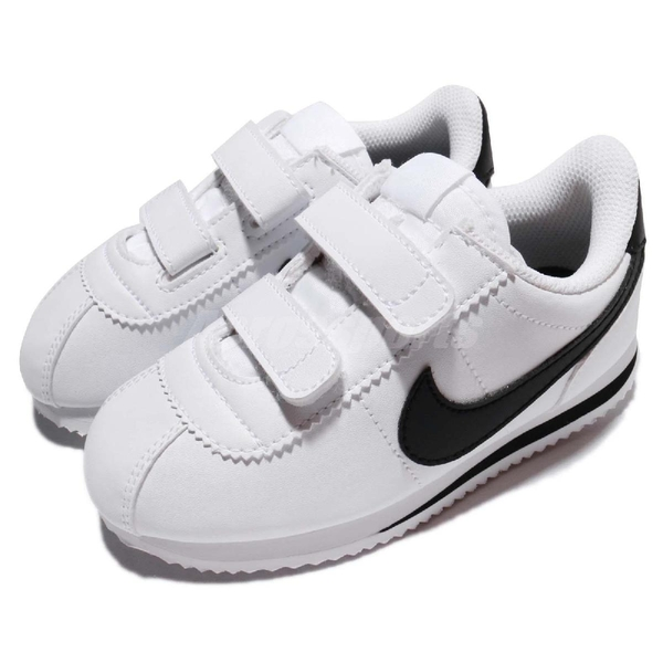 Nike 復古慢跑鞋 Cortez Basic SL TDV 白 黑 阿甘鞋 魔鬼氈 皮革 童鞋 小童鞋【ACS】 904769-102