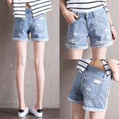 破洞牛仔短褲女 韓版寬鬆學生百搭顯瘦闊腿毛邊熱褲子