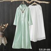 禪服女夏中國風禪意文藝改良旗袍洋裝棉麻復古提花茶服仙氣套裝 怦然新品