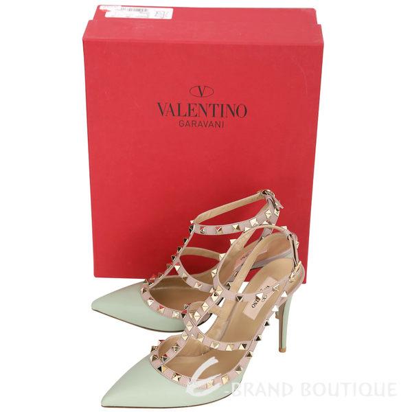 VALENTINO ROCKSTUD 鉚釘繫帶尖頭高跟鞋(淺水綠) 1610020-08