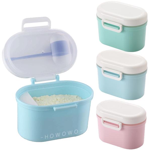 奶粉盒 雙層密封蓋 基本款 便攜式 奶粉儲存盒 外出 保鮮盒 嬰兒奶粉罐 零食盒 RA01001 好娃娃