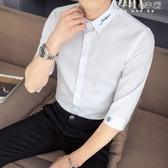 夏季短袖襯衫男韓版潮流帥氣七分袖襯衣休閒男士刺繡寸衫 韓小姐的衣櫥
