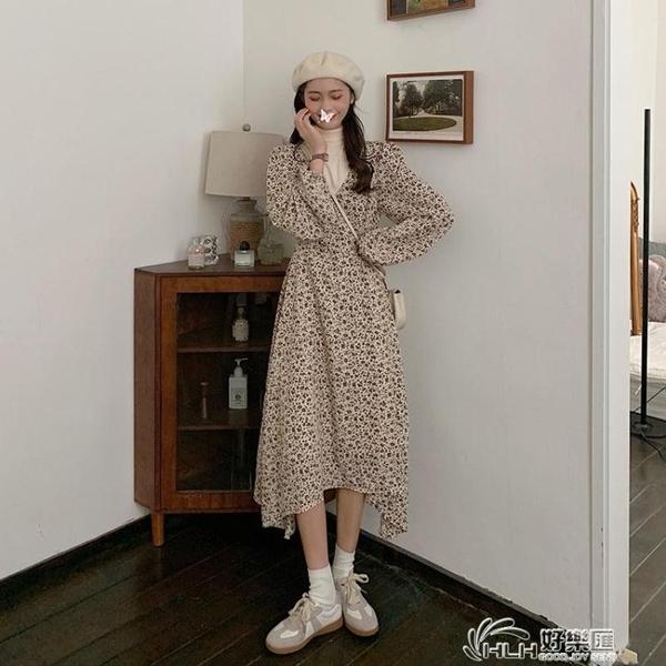 高端輕奢復古洋裝女2020秋冬新款設計感高領名媛碎花氣質長裙潮 好樂匯