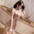 旗袍年輕款少女復古春季氣質小香風復古開叉鏤空收腰洋裝女